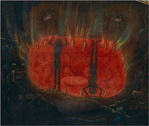 Hellmouth or the Mouth of Hell, by Simon Marmion, from the Getty Tondal, detail, ca. 1475.