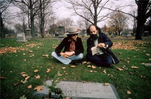 Bob Dylan and Allen Ginsberg at Jack Kerouac's grave, Lowell, Massachusetts, 1975 (twitpic by @berfrois)